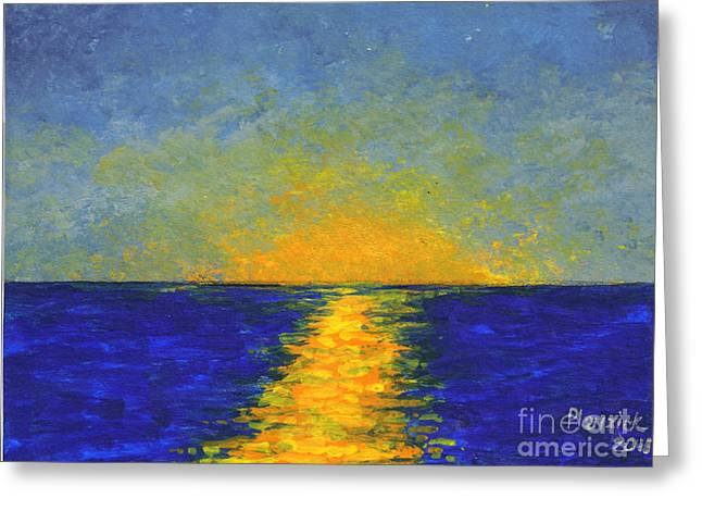 Ocean Sunset Greeting Card by Susan Plenzick