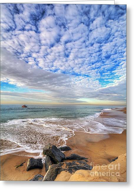 Ocean Touches The Sky Greeting Card by Eddie Yerkish