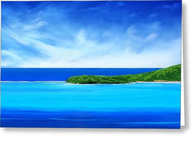 Greeting Card featuring the digital art Ocean Tropical Island by Anthony Fishburne