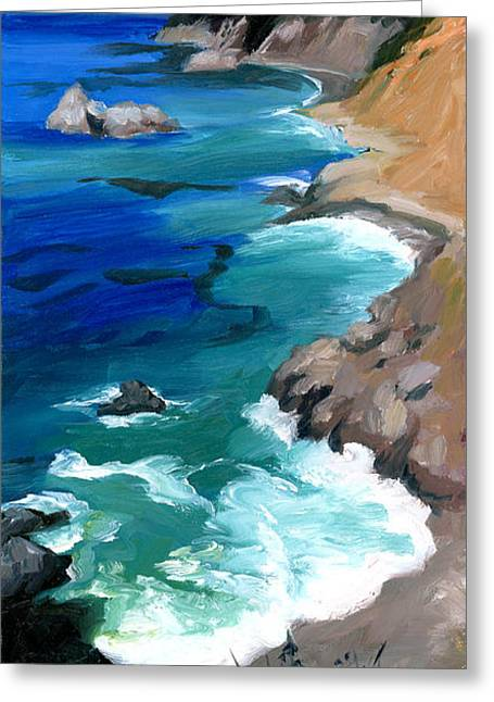 Ocean View At Big Sur Greeting Card by Alice Leggett