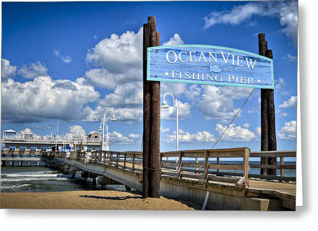 Ocean View Fishing Pier Color Greeting Card by Williams-Cairns Photography LLC