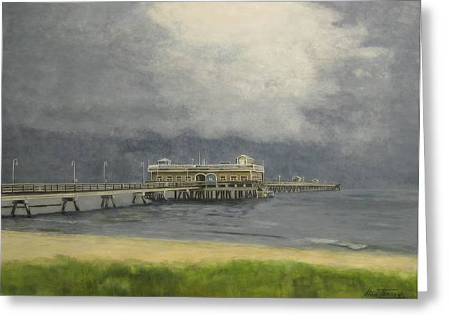 Greeting Card featuring the painting Ocean View Pier by Stan Tenney