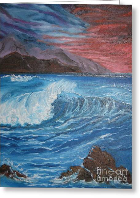 Greeting Card featuring the painting Ocean Wave by Jenny Lee