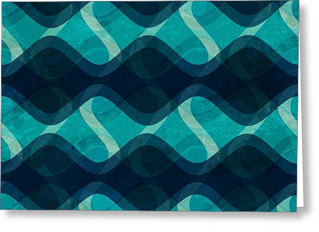 Ocean Wave Seamless Texture With Grunge Greeting Card
