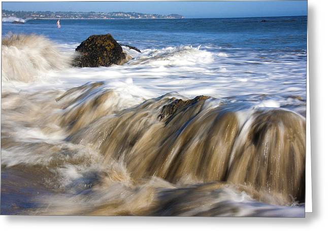 Ocean Waves Breaking Over The Rocks Photography Greeting Card