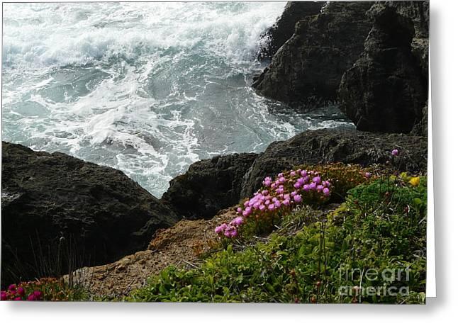 Ocean Wildflowers-2 Greeting Card by Avis  Noelle