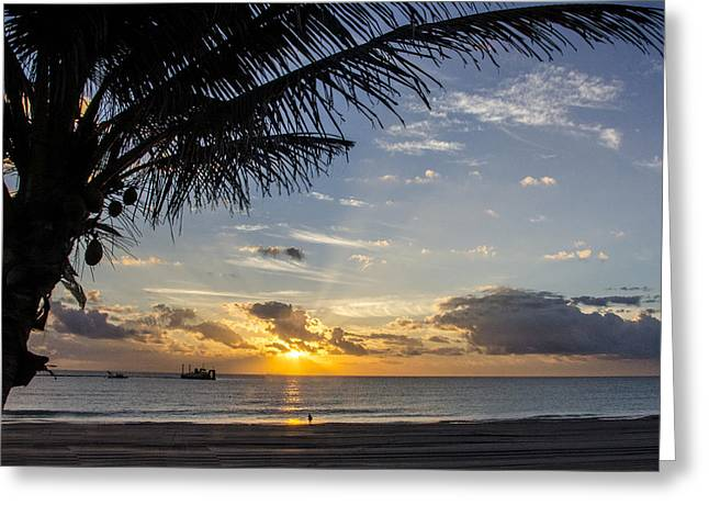 Oceanfront Park Sunrise 1 Greeting Card by Don Durfee