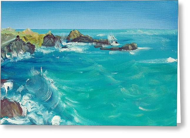 Greeting Card featuring the painting Oceano    by Asha Carolyn Young