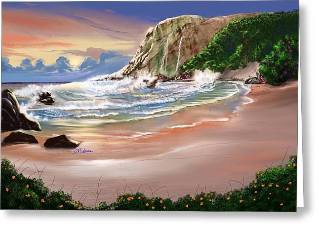 Ocean's Last Light Greeting Card by Anthony Fishburne