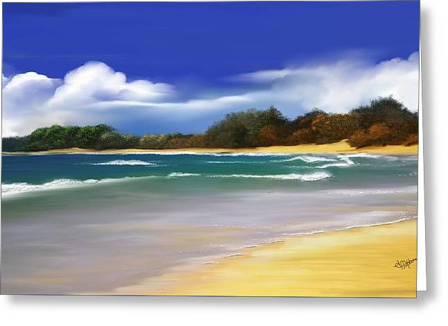 Greeting Card featuring the digital art Oceanside Dream by Anthony Fishburne
