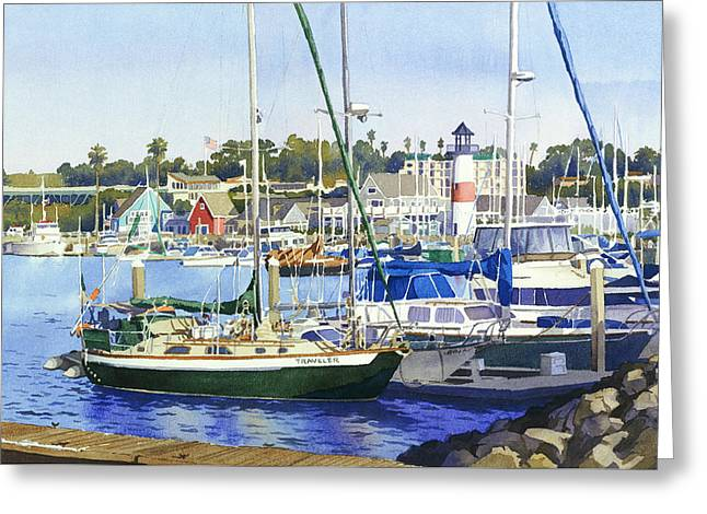 Oceanside Harbor Greeting Card by Mary Helmreich