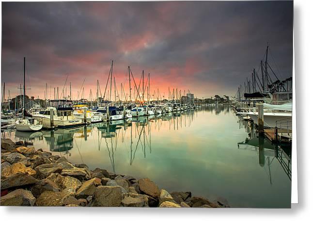Oceanside Harbor Sunrise Greeting Card by Robert  Aycock