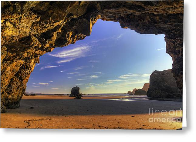 Oceanside Hideout Greeting Card by Mark Kiver