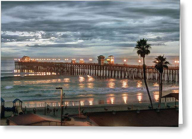 Oceanside Pier At Dusk Greeting Card by Ann Patterson