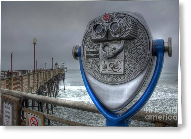 Oceanside Pier California Binocular Vision Greeting Card by Bob Christopher