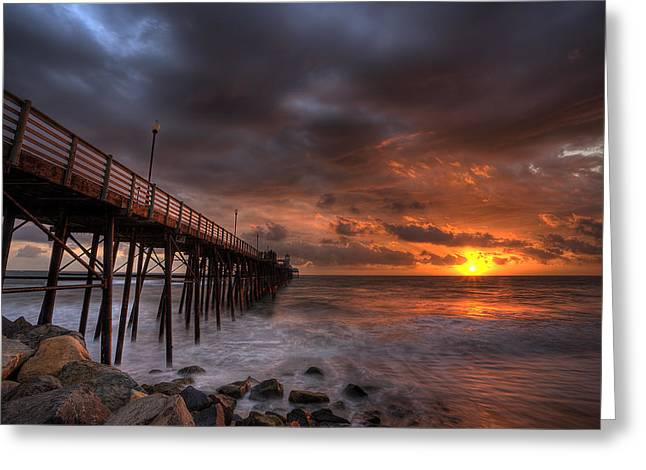 Rocky Greeting Cards - Oceanside Pier Perfect Sunset Greeting Card by Peter Tellone