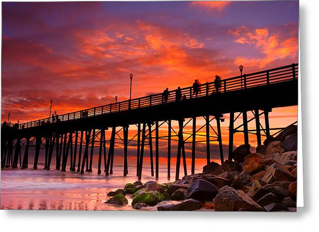 Oceanside Sunset 12 Greeting Card by Larry Marshall
