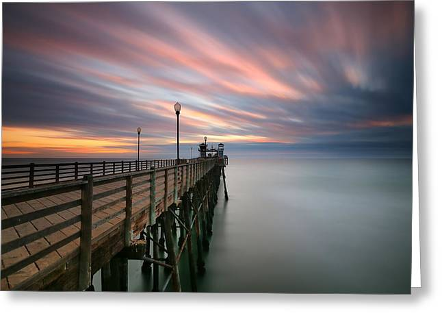 Oceanside Sunset 14 Greeting Card by Larry Marshall