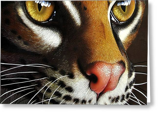 Ocelot Greeting Card by Jurek Zamoyski
