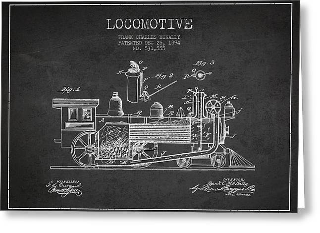 Locomotive Patent Drawing From 1894 Greeting Card by Aged Pixel