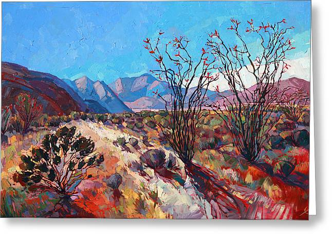 Ocotillo Color Greeting Card by Erin Hanson