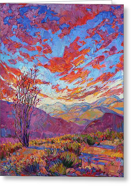 Ocotillo Sky Greeting Card by Erin Hanson