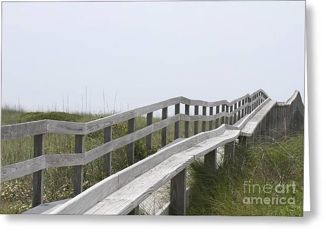 Ocracoke Boardwalk Greeting Card by Cathy Lindsey