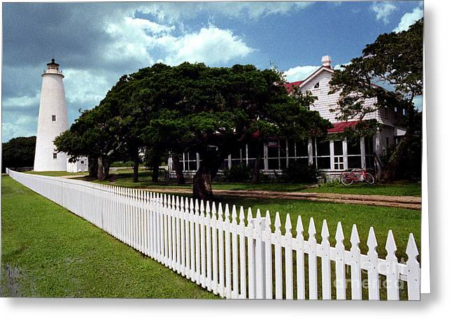 Greeting Card featuring the photograph Ocracoke Lighthouse by Tom Brickhouse