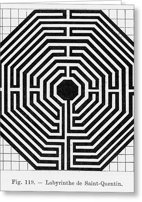 Octagonal Maze In The Cathedral Greeting Card