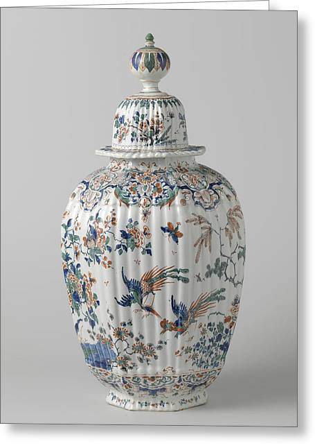 Octagonal Ribbed Vase With Lid Multicolored Painted Faience Greeting Card