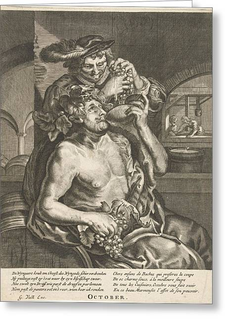 October, Bacchus Who Drinks Wine, Anonymous Greeting Card