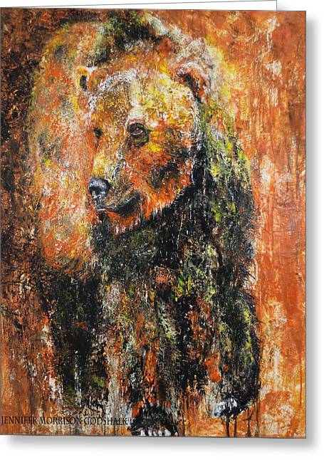 Abstract Bear Painting October Bear Greeting Card
