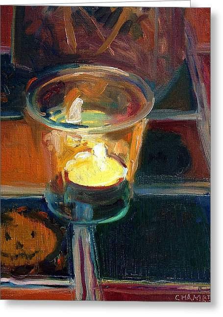 October Candlelight Greeting Card by Timothy Chambers