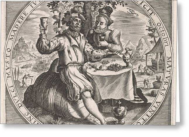 October Couple Drinking Wine, Anonymous Greeting Card