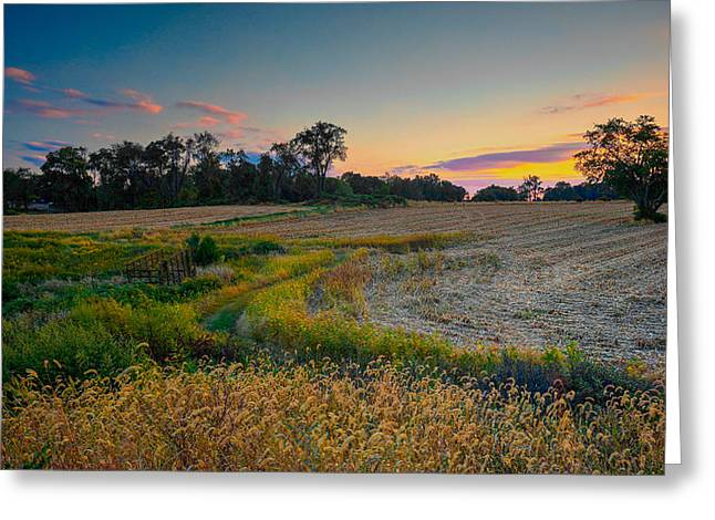 October Evening On The Farm Greeting Card