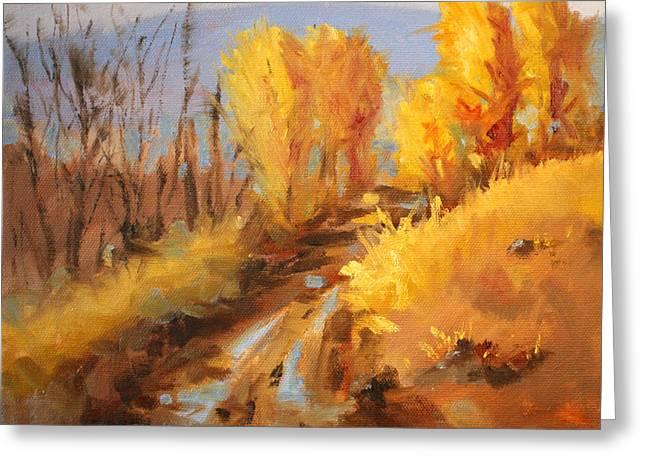 October Hill Greeting Card by Nancy Merkle