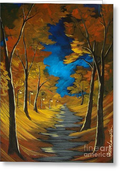 Greeting Card featuring the painting October Stroll by Steven Lebron Langston