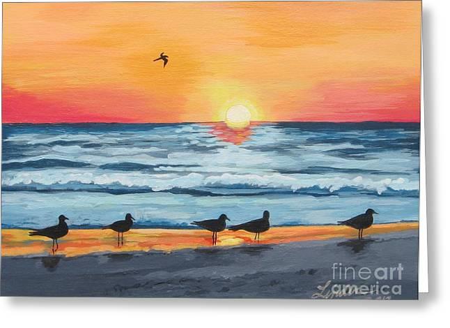 October Sunset On Siesta Key Florida Greeting Card by J Linder