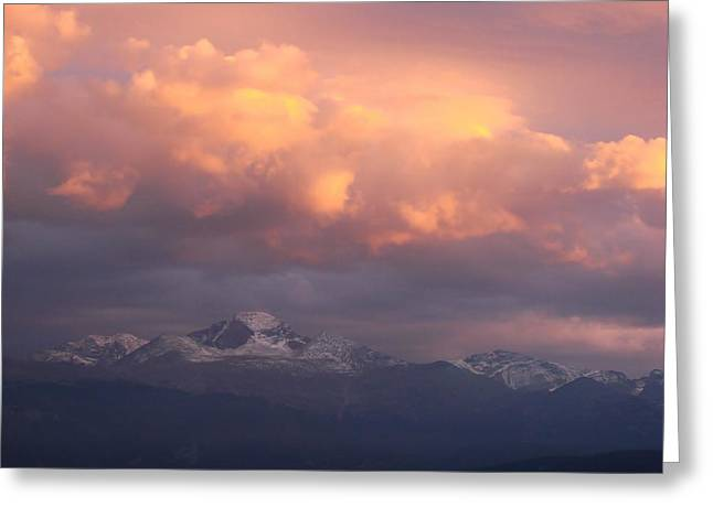 October Sunset Over Longs Peak Greeting Card by Margaret Bobb