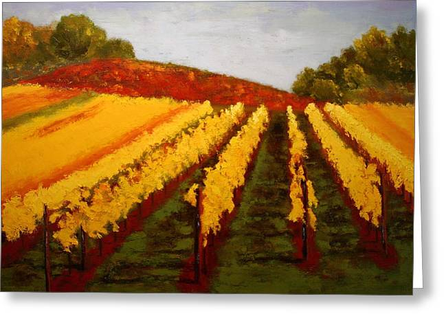 Greeting Card featuring the painting October Vineyard by Nancy Jolley