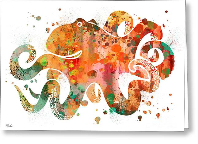 Octopus 3 Greeting Card by Watercolor Girl