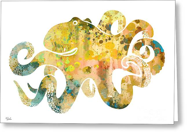 Octopus 4 Greeting Card by Watercolor Girl