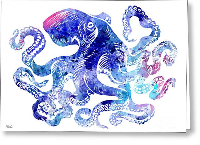 Octopus 5 Greeting Card by Watercolor Girl
