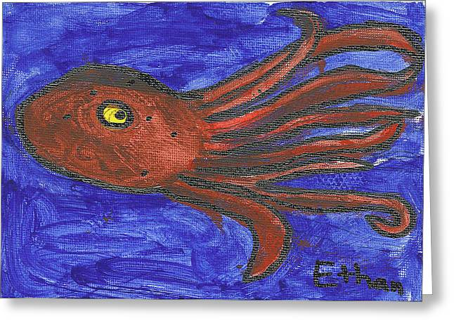 Greeting Card featuring the painting Octopus In The Deep Blue by Fred Hanna