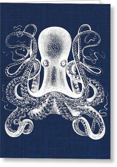 Greeting Card featuring the digital art Octopus Nautical Print by Jaime Friedman