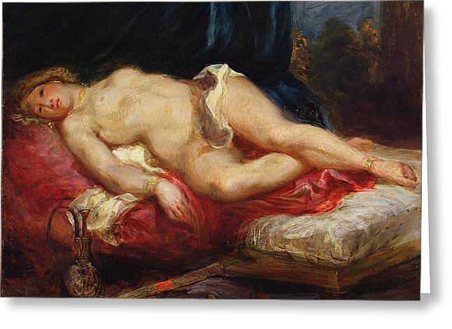 Odalisque Greeting Card by Ferdinand Victor Eugene Delacroix