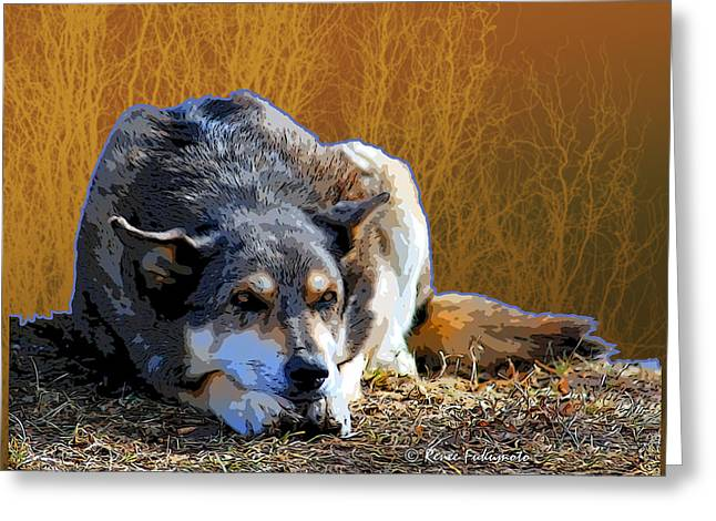 Ode To An Old Dog Greeting Card by Renee Forth-Fukumoto