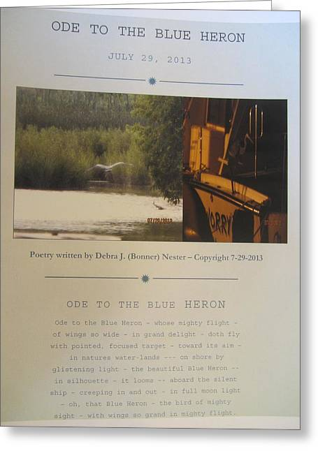 Ode To The Blue Heron Greeting Card by Debbie Nester