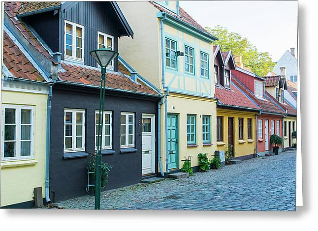 Odense Denmark, Beautiful Old Row Homes Greeting Card by Bill Bachmann