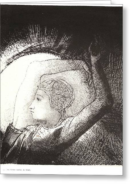 Odilon Redon French, 1840 - 1916. A Woman Clothed Greeting Card by Litz Collection